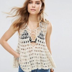 NWT Circles Within Crochet Knit Lace Up Tank Top